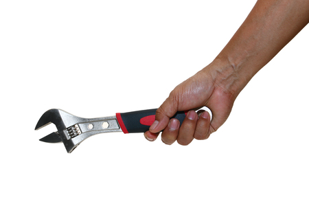Man hand hold  Wrench, scroll  jaws isolated on white background