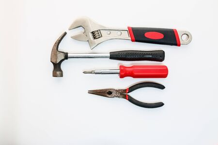 crescent wrench: Hand tools with Adjustable Wrenches, hammers, screwdrivers and pliers on white backgrounds