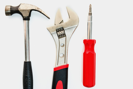 crescent wrench: Hand tools with Adjustable Wrenches, hammers and screwdrivers  on white backgrounds