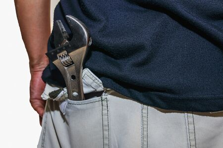 to mend: Adjustable Wrench in the pants pocket