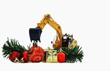 Christmas with tiny trucks for kids with street vehicles bulldozer