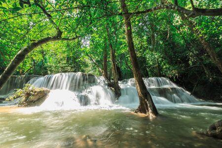Beautiful Huai Mae Khamin waterfall in the rainy season, With a lot of water, Kanchanaburi Province, Thailand. Stock Photo