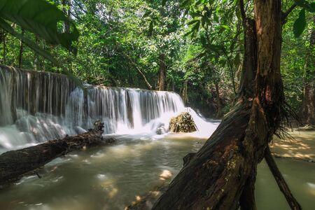 Beautiful Huai Mae Khamin waterfall in the rainy season,  Kanchanaburi Province, Thailand.