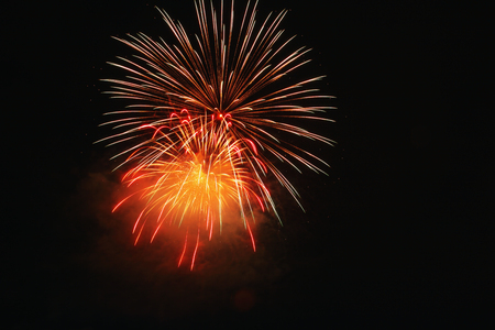 Fireworks light on the sky in beautiful night with dazzling display of celebration day