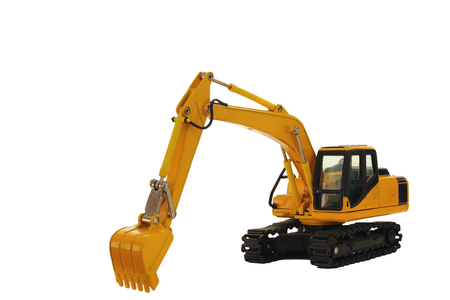 Excavator crawler loader model with isolated on white background Stock Photo