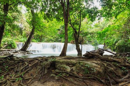 Beautiful Huai Mae Khamin waterfall in the rainy season of deep forest,  Kanchanaburi Province, Thailand.
