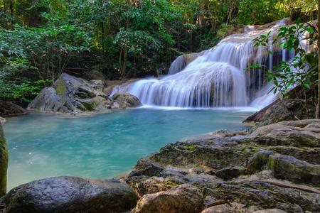Beautiful Erawan waterfall in national park  forest , Kanchanaburi Province, Thailand