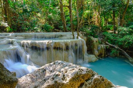 Waterfall in  deep forest at Erawan National Park ,Kanchanaburi Province, Thailand Stock Photo