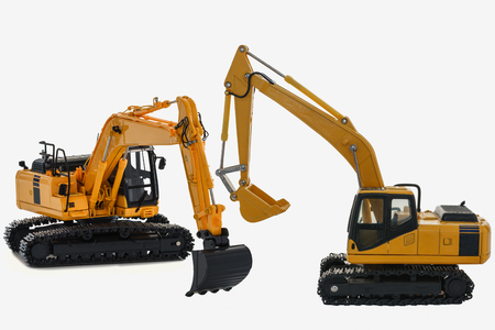 Excavator loader model isolated on white background with new technology