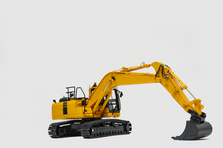 Excavator loader model with new modern technology on white background
