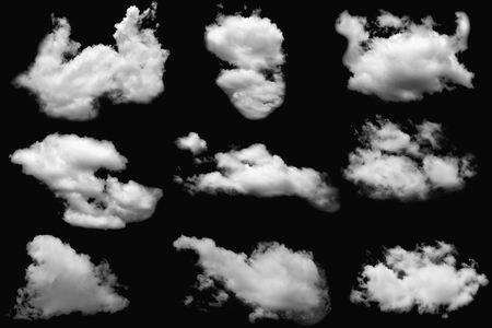 Set of clouds white fluffy on isolated elements black background.