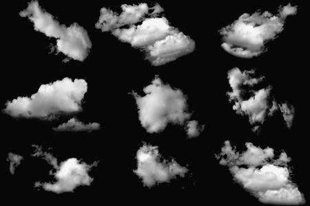 Set of cloud white on isolated elements black background.