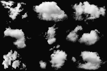 Set of clouds white fluffy on isolated elements black background 写真素材