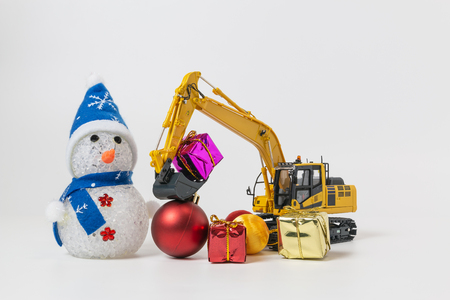 Christmas ornament  and Excavator model 版權商用圖片