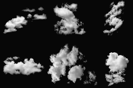 Set of cloud white on isolated elements black Reklamní fotografie