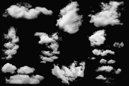 Set of cloud white fluffy on isolated elements black