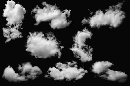 Set of clouds white on isolated elements black Reklamní fotografie