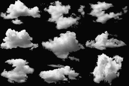 Set of clouds white  on isolated elements black
