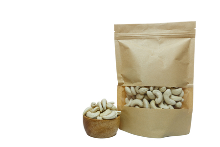 Cashew nuts  packaging bag on  a white