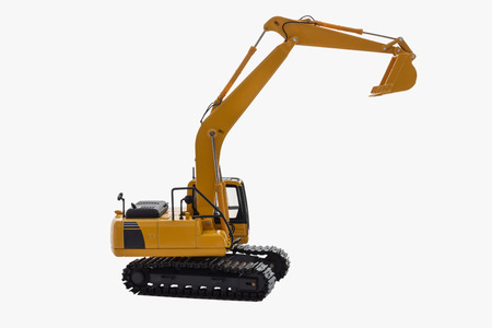 Excavator loaders  model isolated on  a white  with lift up bucket Reklamní fotografie