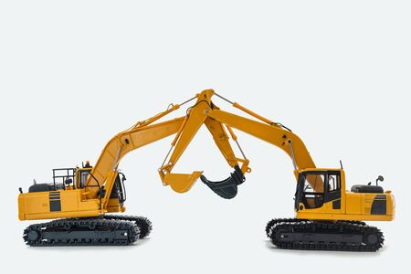 Yellow Excavator loader isolated on a white