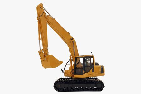 Excavator loader  model isolated on  a white background with lift up bucket