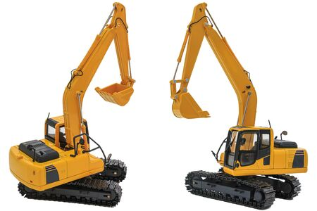 Two yellow excavator  model, machinery in heavy industry with isolated on  a white background with bucket lift up