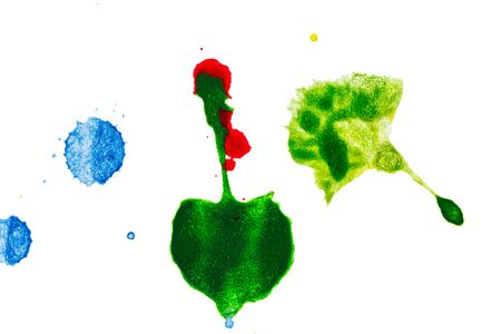 Ink drop color splash  on white background , artistic  surface of design style .
