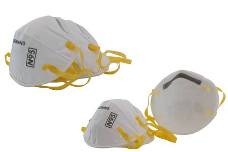 Protection respirator for N95 Filter face mask,safeguard on white background Stock Photo