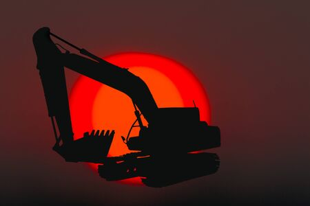 Silhouette image excavators loaders on a sunset background