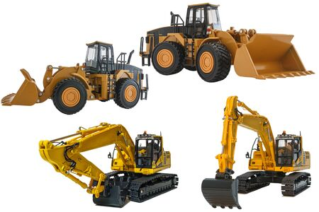 Excavator model and Wheel loader  with isolated on a white background