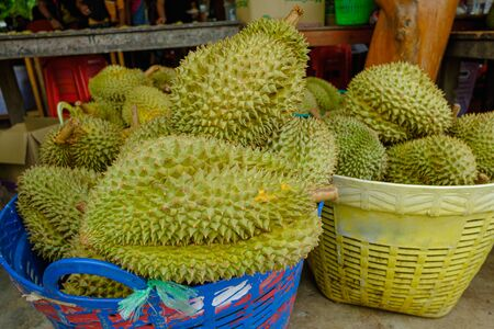 Ripe durian fruit  for sale to customers in the basket.