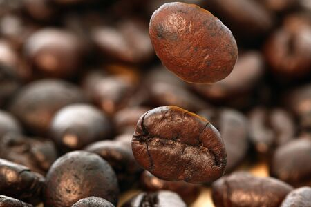 Dark roasted coffee beans    ,close up