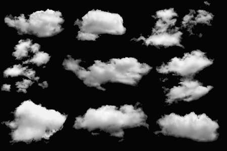 Group of clouds white for design on a isolated elements black background.