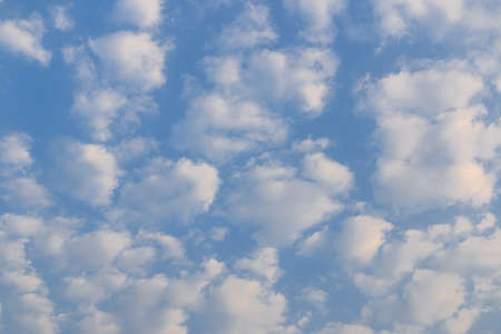 Blue sky background with group cloud and sunlight in morning