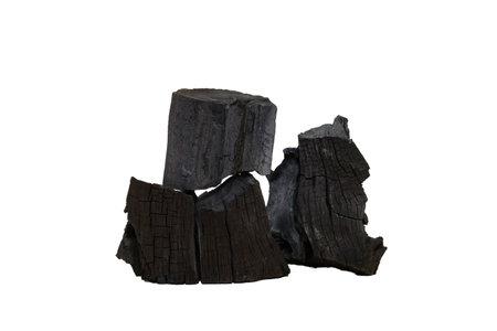 Hardwood charcoal, traditional from nature burning isolated on white background 版權商用圖片