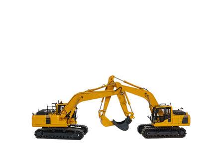 Two  excavator   model   on  a white background 版權商用圖片