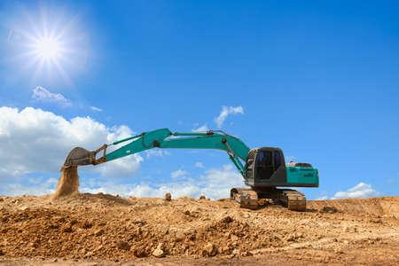 Crawler Excavators are digging the soil in the construction site Foto de archivo