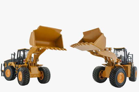 Wheel loader model isolated on white