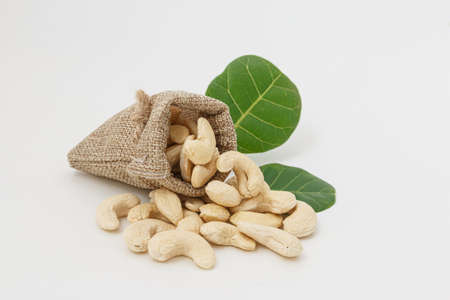 Cashew nuts with green leaf in bag