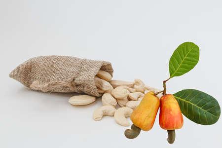 Ripe fruit with Cashew nuts  in bag 版權商用圖片