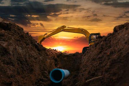 Crawler excavator is digging in the construction site pipeline work
