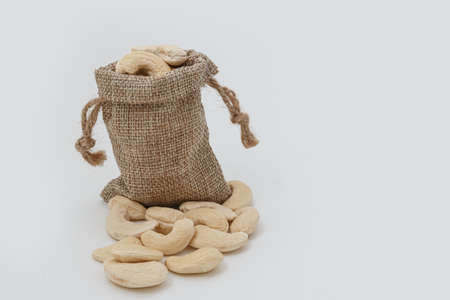 Cashew nuts  in bag 版權商用圖片