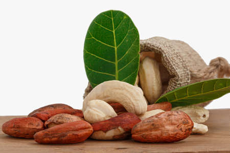 Cashew nuts raw with green leaf in bag on floor wooden and  white background Фото со стока