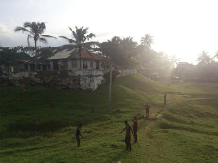 People walking in a village