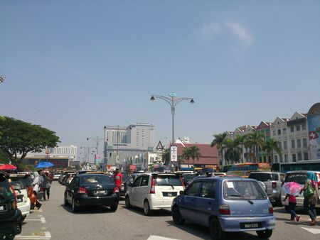 Busy traffic in the town of Malacca, Malaysia