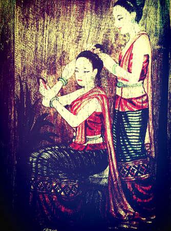 art: Thai woman, Thai Art Stock Photo