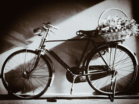 white: Old bicycle ,Black and white