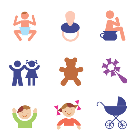 Several symbols and icons of childhood. Vector  illustration.