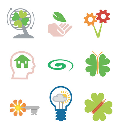 Icons for environment and  ecology, Vector illustration isolated on white background.  Vector